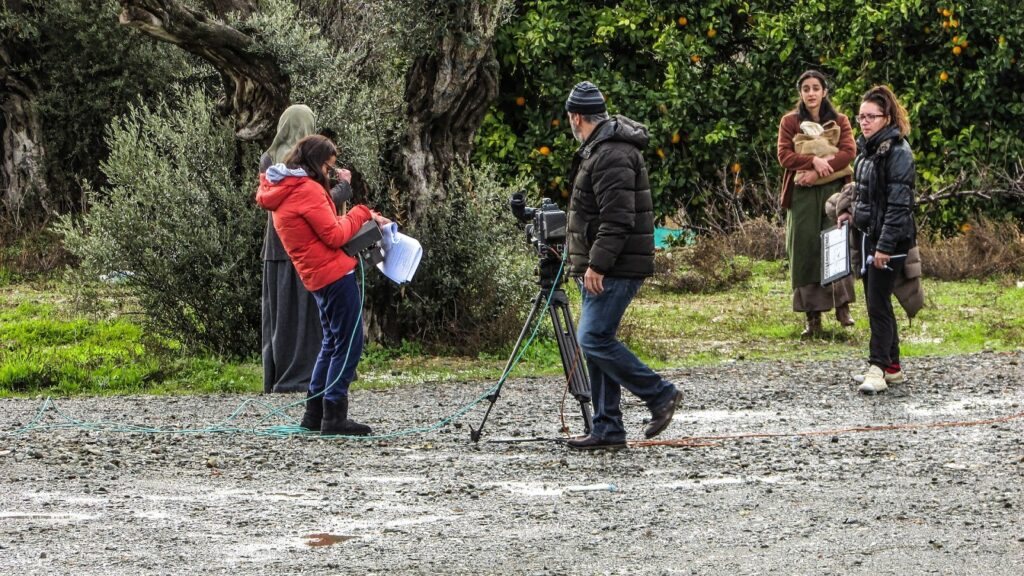 Film crew in the process of shooting